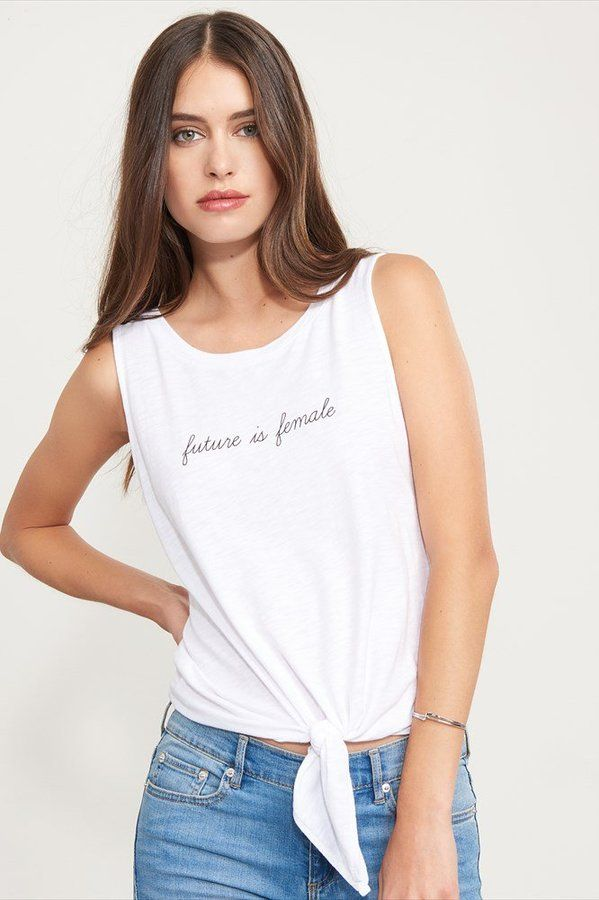 Dynamite Tie Front Graphic Tank