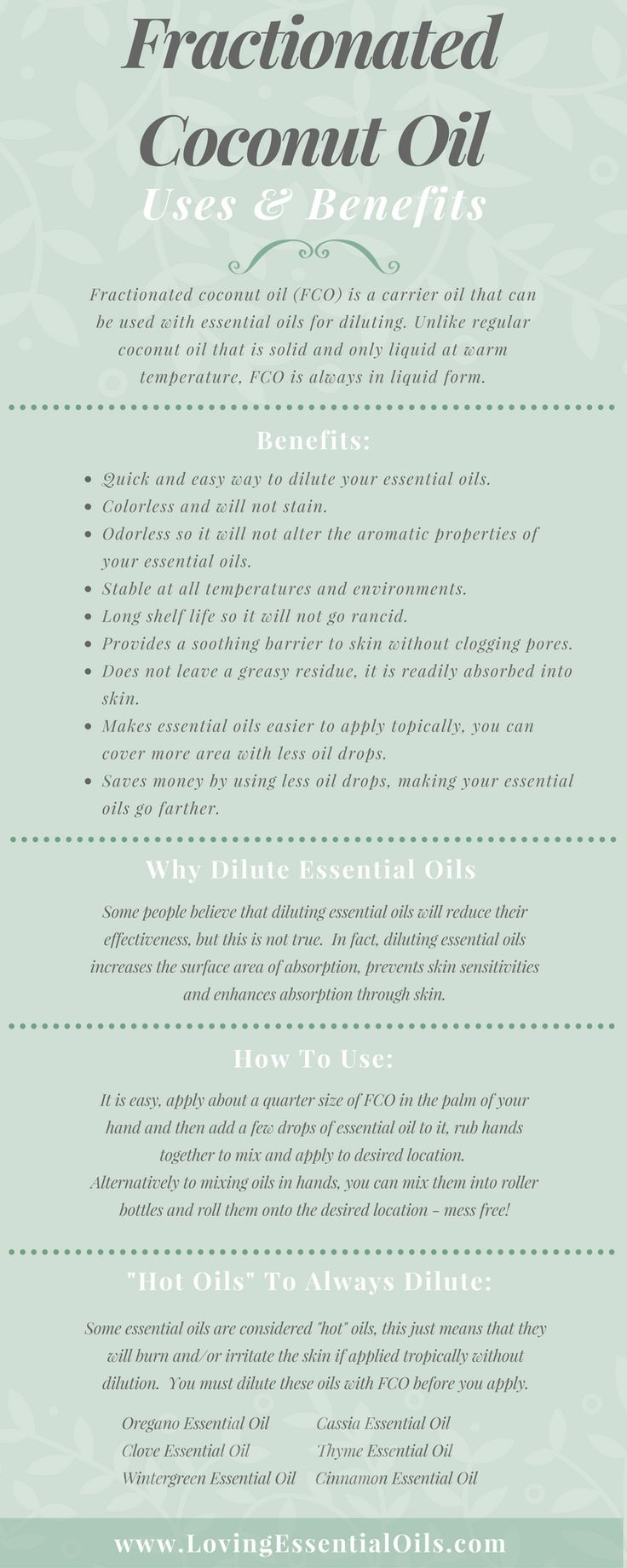 """Fractionated Coconut Oil Uses and Benefits Infographic http://www.lovingessentialoils.com/blogs/essential-oil-tips/109291910-what-is-fractionated-coconut-oil Learn why you need to be using FCO to dilute your essential oils, also find out """"hot oils"""" you need to always dilute before use."""