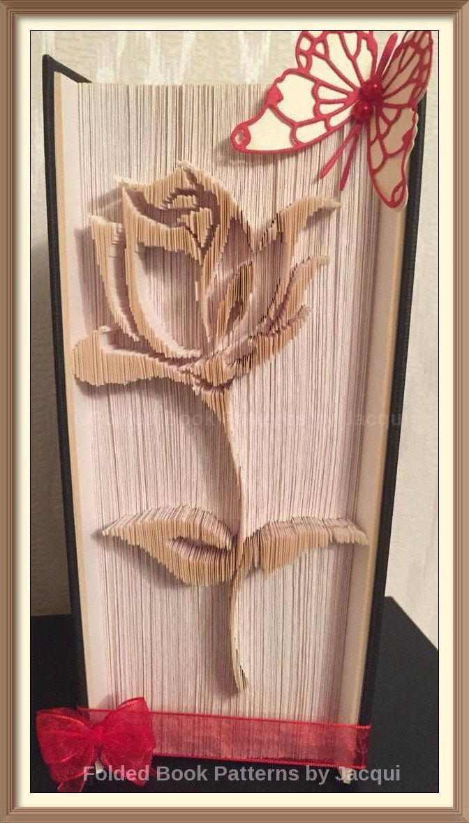 Rose Cut and Fold Book Folding Pattern by JHBookFoldPatterns on Etsy