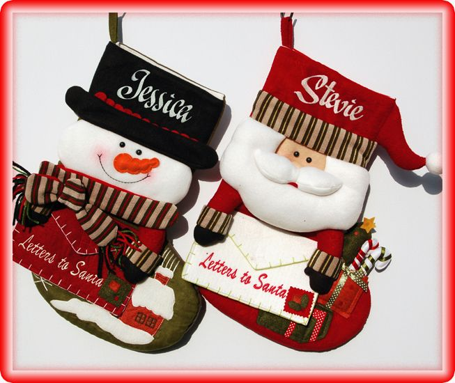 Personalised Christmas Stockings Letter To Santa Available in 2 Designs Santa with any Name One Name Only 8 letters max Snowman with any Name One