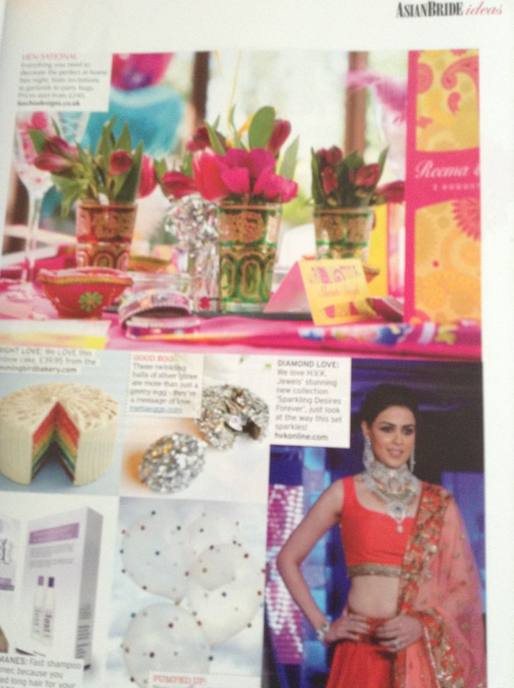 Fuschia feature in the current issue of Asian Bride which is the Autumn issue.  The products are from our Bombay Mix collection and perfect for a hen celebration or mehndi party by www.fuschiadesigns.co.uk