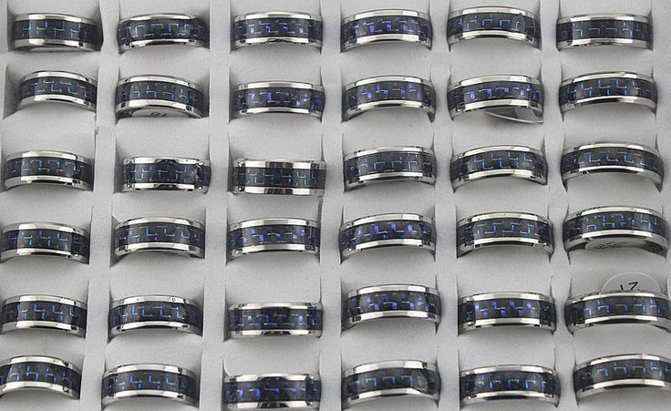 Wholesale Lots 14Pcs Stainless Steel Black/Blue Fashion Cool Men's Rings L545