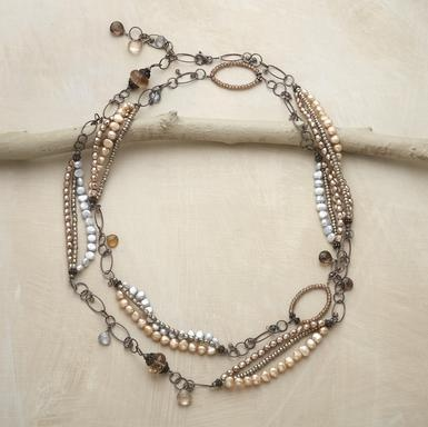 """Sundance's bel canto necklace    Multi-colored pearls, faceted quartz drops and elegant beaded links, 48""""L."""