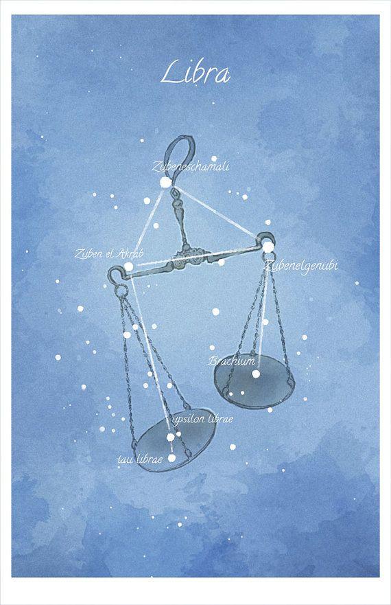 Astronomy art Libra constellation luminescent by LaPetiteMascarade, $28.00