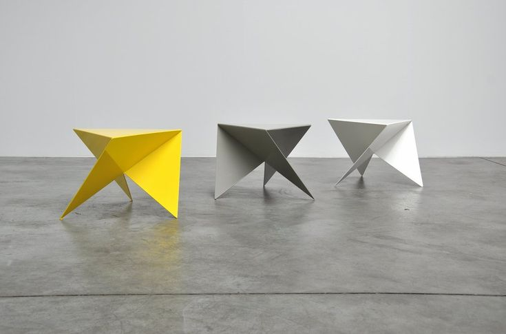Exceptional set of 3 side tables designed by architect Piet Blom (1934-1999). Piet Blom has become famous by his designs from the cube houses in Rotterdam, Helmond etc. These tables are in the same colors as the cube houses in Rotterdam he probably designed them for these houses.