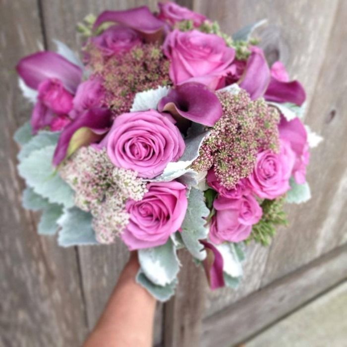 Beautiful Lavaneder Bridal Bouquet With Roses And Calla