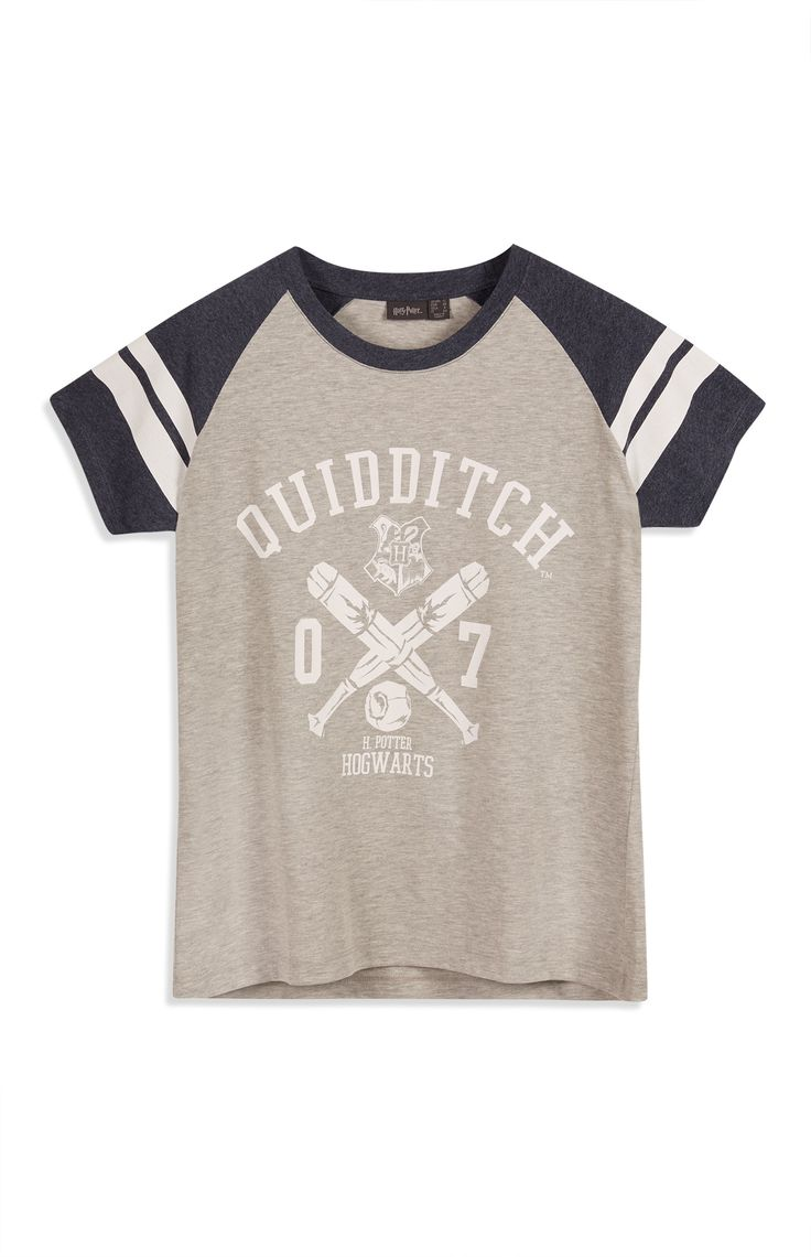 Primark - Grey Harry Potter Quidditch Raglan Top