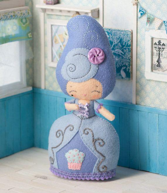 PDF.Marie  Antoinette doll with baby Antoinette .Plush Doll Pattern, Softie Pattern, Soft felt Toy Pattern..via Etsy. $7.00 pattern.