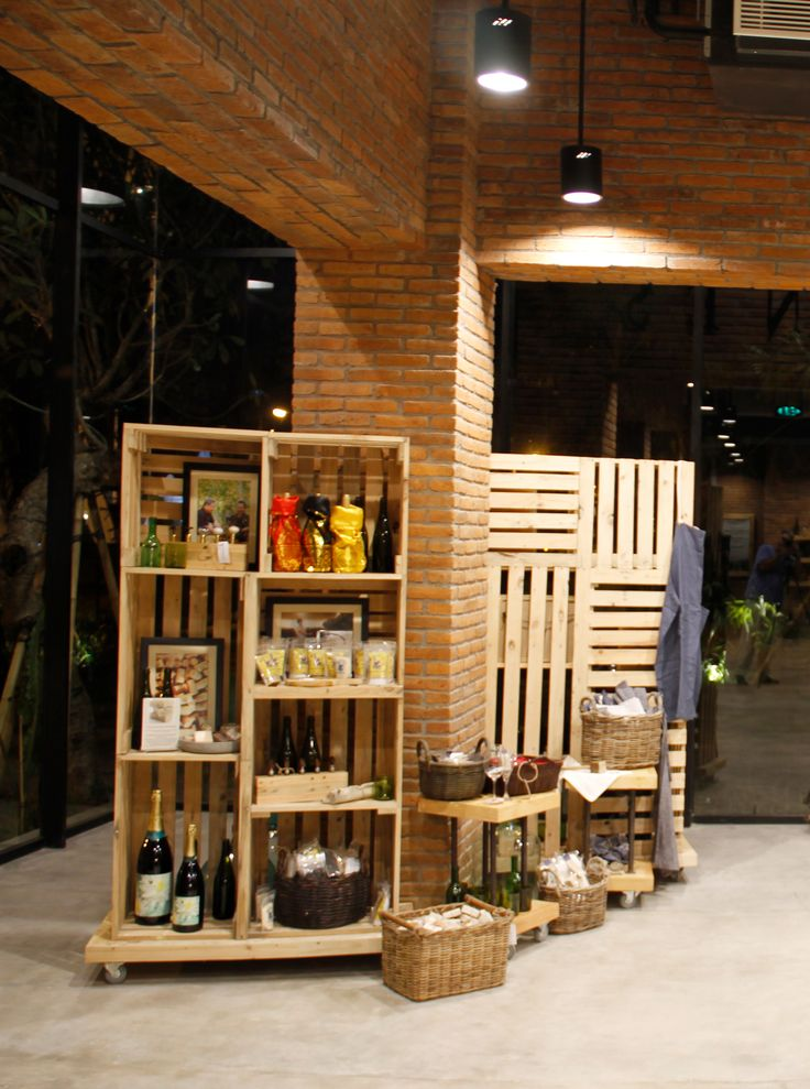 The Cellardoor, wine lifestyle boutique. palettes recycled into retail display.