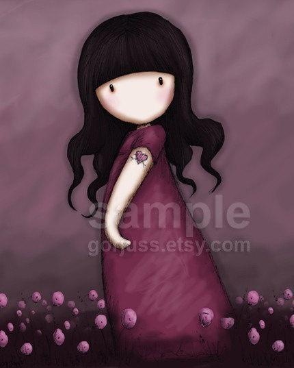 Pink Poppies - 8 x 10 Giclee Fine Art Print - Gorjuss Art