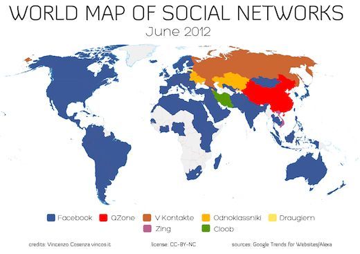 Facebook is eating the world, except for China and Russia: World map of social networks