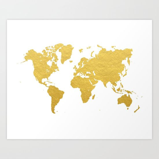 Buy Gold World Map Art Print by Samantha Ranlet. Worldwide shipping available at Society6.com. Just one of millions of high quality products available.