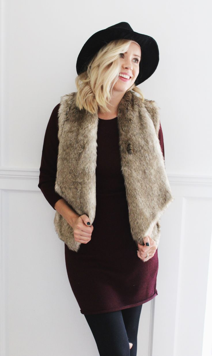 Faux Fur 'Dwight' vest. Fall fashion, perfect for layering. Complete outfit from sashboutique.ca