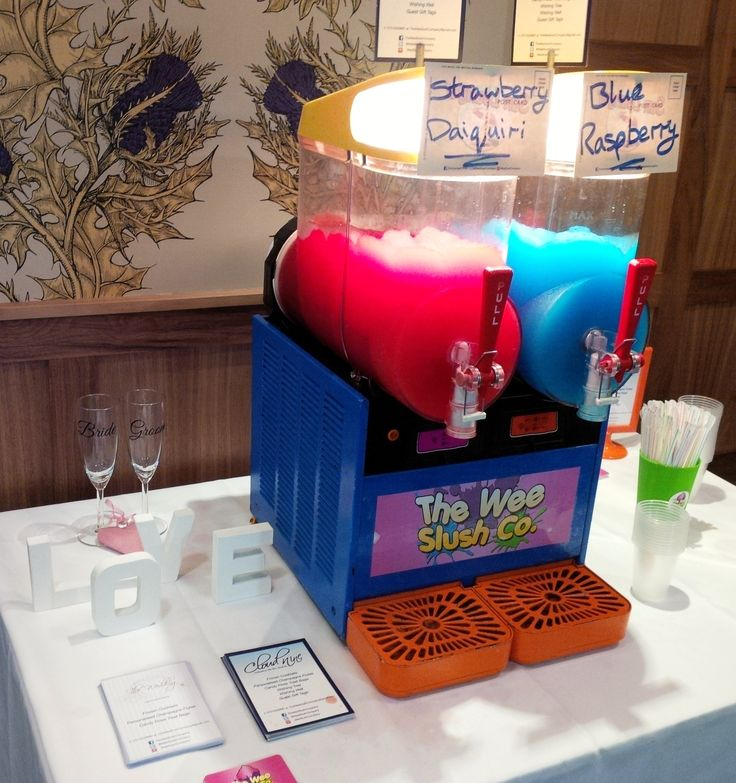 The Wee Slush Company at a #wedding at the beautiful Lodge on Loch Lomond! Helping a lovely couple celebrate in style with our Blue Raspberry #slush #drinks and Strawberry Daiquiri #frozencocktails! / #TWSC #TheWedding #CloudNine