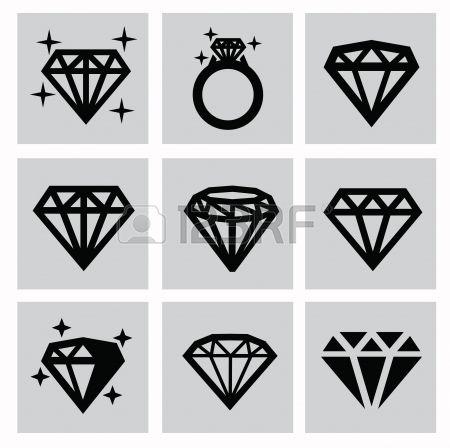 vector black diamond icons set on gray