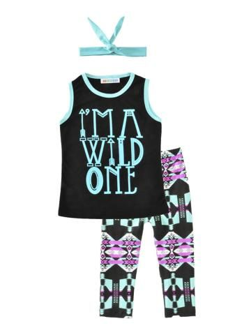 Buy Girl's Pants Set 3 Pcs Letter Tank Top Pants Headband Kids Clothes & Girls Wear - at Jollychic