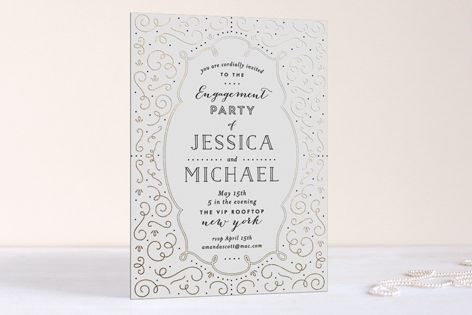 Stunning Real Foil Deco Style Foil-Pressed Engagement Party Invitations by Phrosné Ras at minted.com