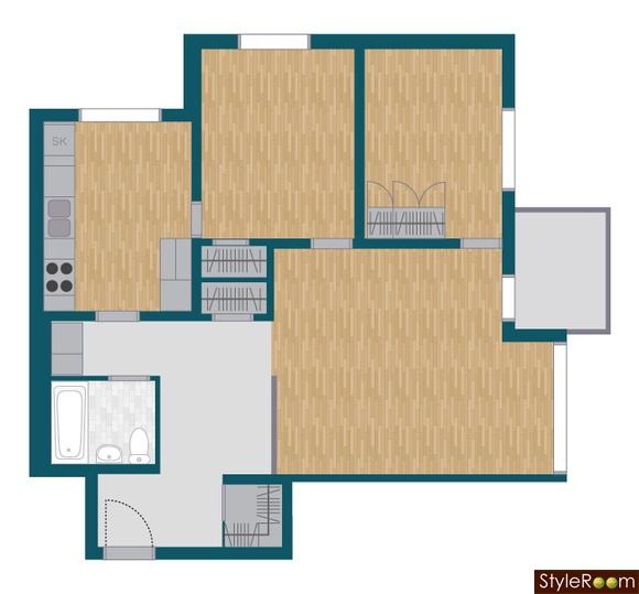 Minst 3 rum, kök, balkong och liten klädkammare och lagom hyra.
