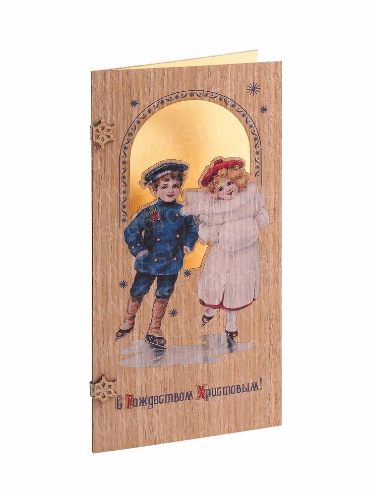 Новый год, открытка, уф печать, необычная открытка, деревянная открытка, открытка с вырубкой