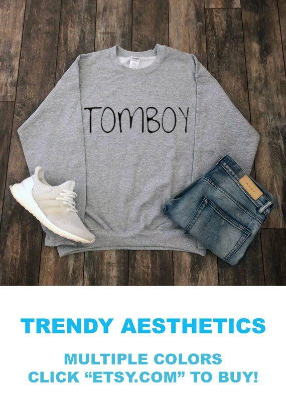 Cute Funny Tomboy Aesthetic Sweatshirt Streetwear Clothing Camping WW1npU4