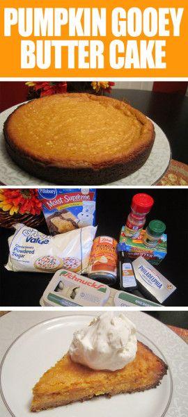 PUMPKIN GOOEY BUTTER CAKE. Seriously the best thing ever. I'll never eat plain pumpkin pie ever again!!