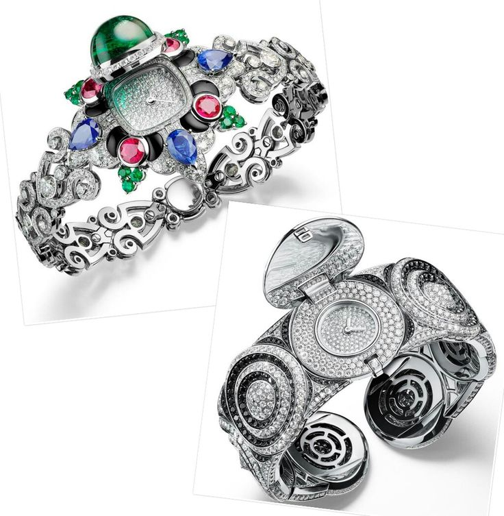 The Rosa Dei Venti @giampierobodino watch mixes numerous references: the Fleur de Lys in its diamond chain strap; the points of a compass and the Maltese cross visible in the main design of the bracelet, formed in graphic moody colours: dark red rubies, dark green emeralds and dark blue sapphires interspersed with black onyx. An 11.49-carat Zambian emerald lifts to reveal the dial. In Mosaico, a contemporary cuff that is Bodino's favourite, concentric circles of white diamonds and black…