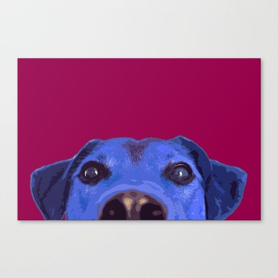 "Blue dog. Dog poster. Modern design. Loft wall decor. Fine art print on bright white, fine poly-cotton blend, matte canvas using latest generation Epson archival inks. Individually trimmed and hand stretched museum wrap over 1-1/2"" deep wood stretcher bars. Includes wall hanging hardware."