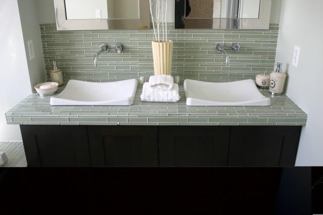 the sinks.