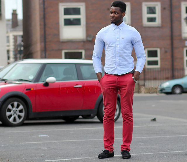 Men's Red Pants & chambray shirt & black loafers