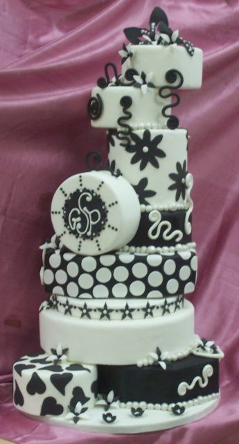 Black And White Multi Tiered Cake