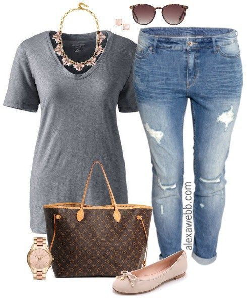 Plus Size Casual Outfit – Grey & Pink