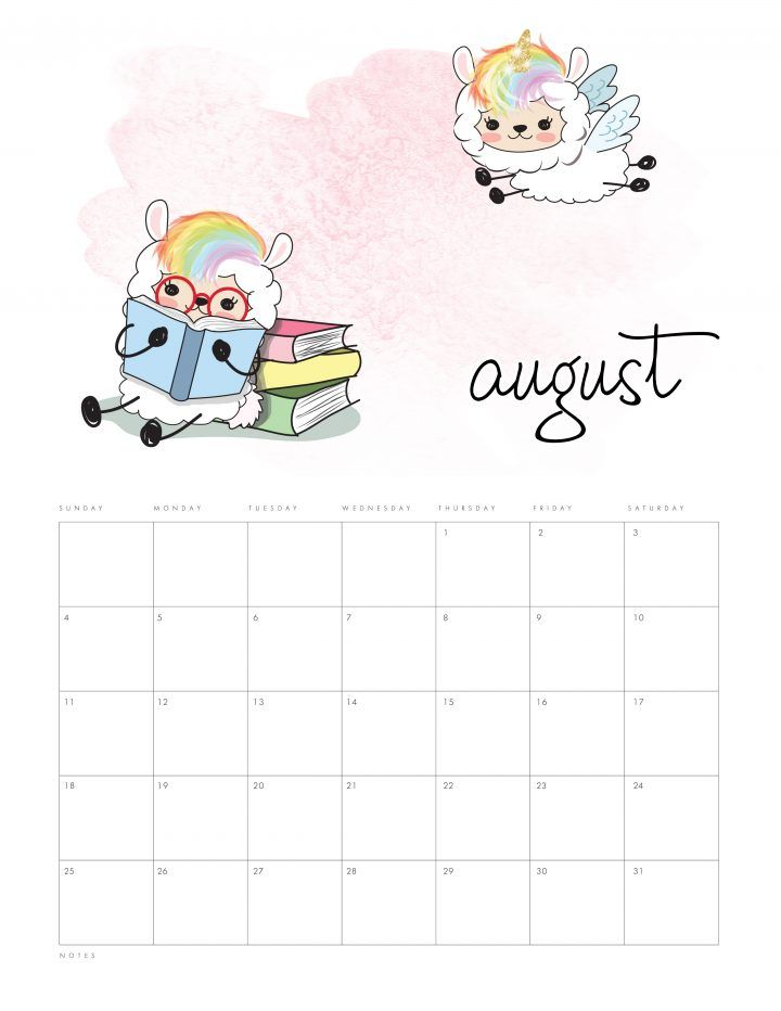 Free Printable 2019 Kawaii Llama Calendar The Cottage Market Kids Calendar Calendar Printables Calendar
