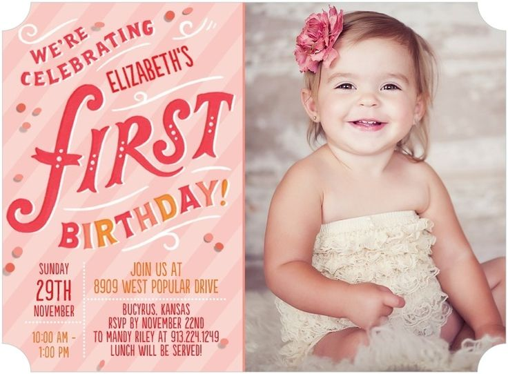 213 best 1st Birthday Invites images – First Birthday Invitation Card Ideas