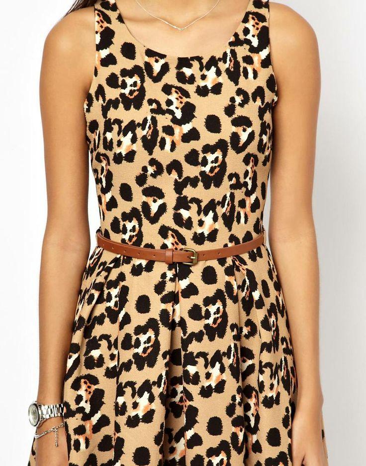 Glamorous | Glamorous Belted Skater Dress in Leopard at ASOS