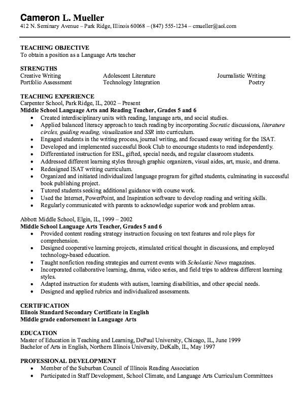 Cda Teacher Resume