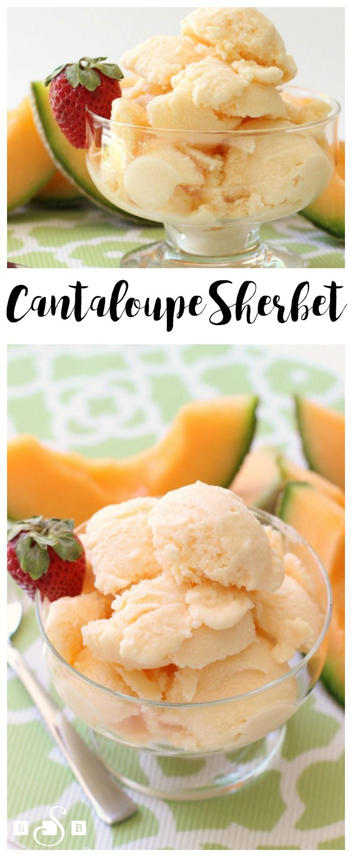 Cantaloupe Sherbet - Butter With A Side of Bread -- you'll love the sweet cantaloupe flavor in this simple recipe for homemade sherbet!