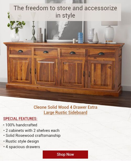 cleone rustic solid wood 4 drawer extra long sideboard cabinet in rh pinterest com