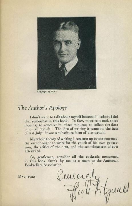 """theparisreview: Signed """"Author's Apology"""" and a toast to the American Booksellers Association in a copy of This Side of Paradise."""