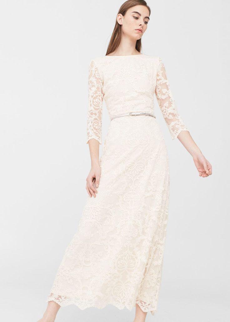 Robe longue dentelle | MANGO