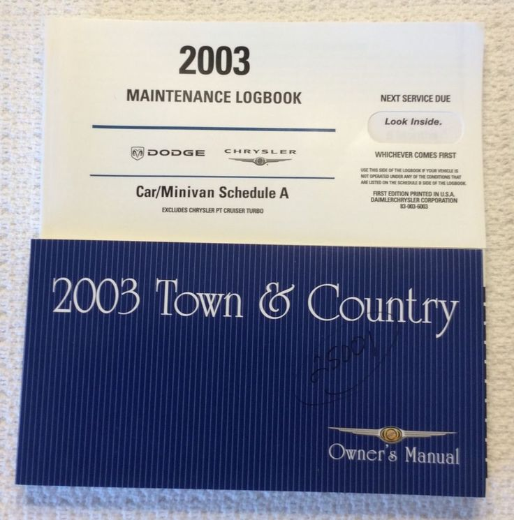 2003 Town & Country Owner's Manual