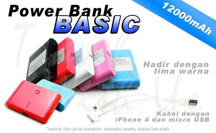 PowerBank Basic 12000mAh, Only 212.000,- *not inclu7de shiping cost  - Kapasitas 12000mAh, berbahan lithium-ion - Design dengan warna yang menarik - 4 buah lampu LED, sebagai lampu indikator saat pengiisian ulang - Memiliki dua jenis output; 1,0A yang dapat digunakan untuk pengisian handphone/smartphone, dan 2,1A yang dapat digunakan untuk pengisiian ulang tablet/ I-Pad - Dapat digunakan diberbagai device. Handphone/smartphone, BlackBerry, I-phone, Tablet, MP3 Player, PSP, Pocket Camera dll