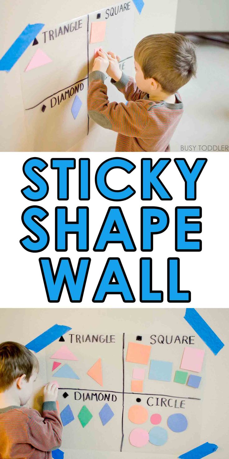 Sticky Shape Wall - Check out this super easy math activity!
