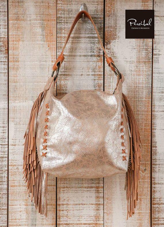Leather hobo bags, boho fringe bag, bucket bag, fringe handbag, hobo purse, leather slouch bag, fringe leather purse, metallic hobo bag