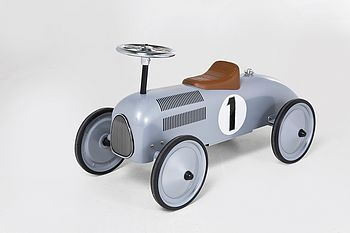 Silver Retro Toy Racing Car - Crux Babyhttp://www.cruxbaby.co.uk/shop/toys-activity-learning/silver-retro-toy-racing-car/ #baby #racing #cars
