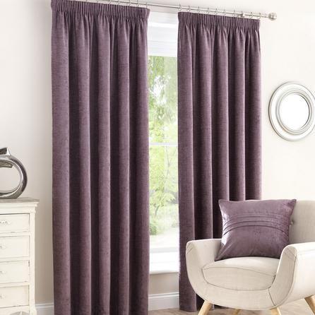 Dunelm Chenille Mauve Lined Pencil Pleat Curtains