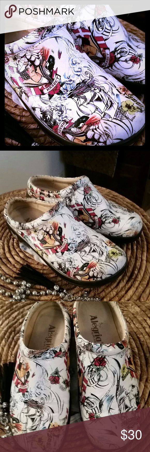 ALEGRIA SAILOR JERRY CLOGS These Super Stylish Homage to Famous Tattoo Artist Sailor Jerry! Super Comfy, Great for work and or travel! Alegria Shoes Mules & Clogs