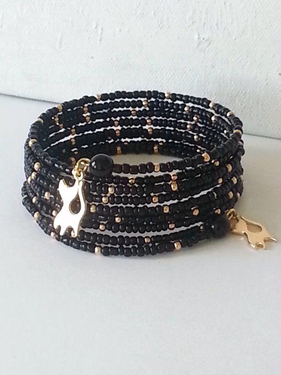 Elegant, memory wire bracelet, black bracelet, wrap bracelet, bracelet with cat, cat charm, glass beads