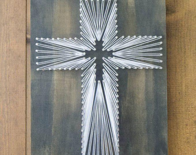 Pasen kruis String kunst, hout Decor, religieuze kunst Decor, rustiek hout Decor