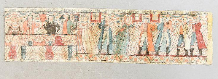 BONAD (Swedish). Allmoge. Målad på papper, Sunnebo, 1800-talets första hälft. Bibliskt motiv med gästabud. Uppfodrad på tyg. 55 x 208 cm.