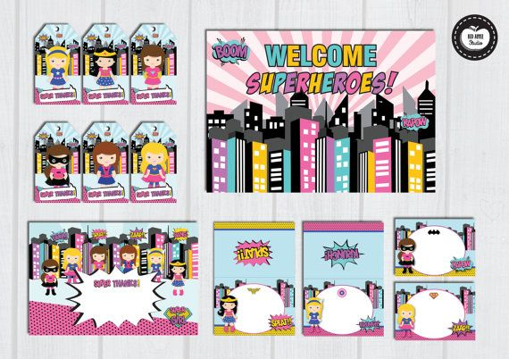GIRL SUPERHERO Party Pack Girl Superhero Party by RedAppleStudio